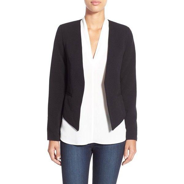 Dex Open Front Blazer ($68) ❤ liked on Polyvore featuring outerwear, jackets, blazers, black, dex, open front blazer, shiny jacket, black fitted blazer y fitted blazer