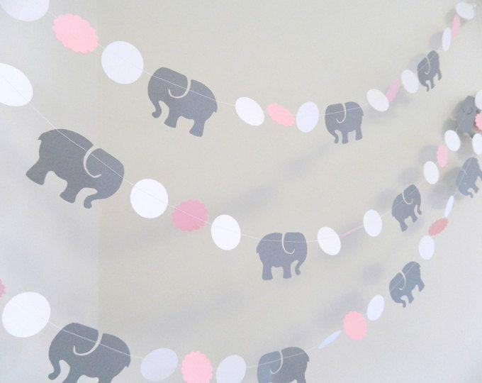Rosa y gris elefante bebé ducha central decoraciones de ducha
