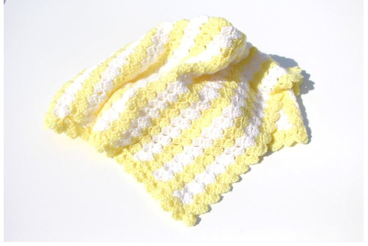 Yellow Baby Blanket, Striped Crochet Baby Blanket, Crochet Baby Blankets, Gender Neutral, Car Seat Blanket, Stroller Blanket, Photo Prop by CraftCreationsbyRose on Etsy