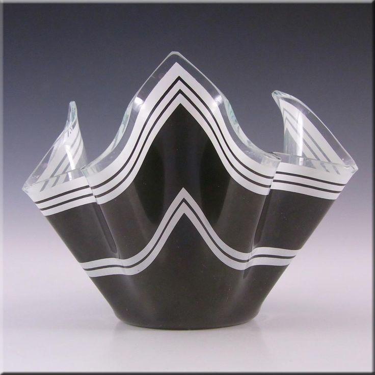Chance Brothers Black Glass 'Bandel-2' Handkerchief Vase - £15.00
