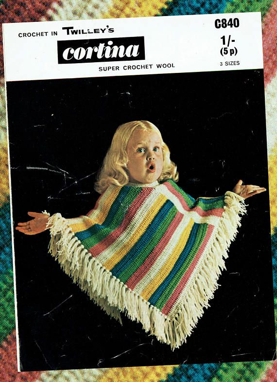Original  Vintage Pretty Girls STRIPEY Poncho  Crochet Pattern