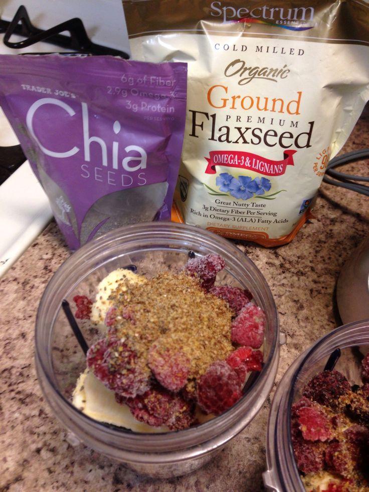 1 C spinach; 1 banana; 1/4 C raspberries; 1 T chia seeds; 1 T ground flax; 1 1/4 C Almond milk