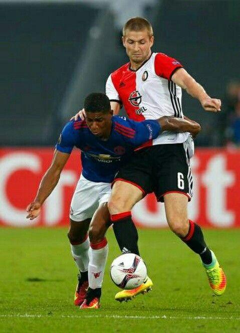 Feyenoord 1 Man Utd 0 in Sept 2016. Marcus Rashford is challenged by Jan-Arie van der Heijden in the Europa League, Group A game.