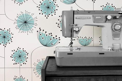 contemporary flower wallpaper pattern // light turquoise, white and black