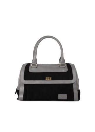 Black and Grey Handbag Rs. 3,200.00  Availability: In stock    100 % Real Leather A contrasting suede and leather handbag to give a bold look to your outfit. Suede body with leather trimming and leather handle Flap with a turn lock in golden finish 2 short handles with ring, perfect to be carried on shoulder or to be held in hand One main compartment with an inner pocket and mobile pocket