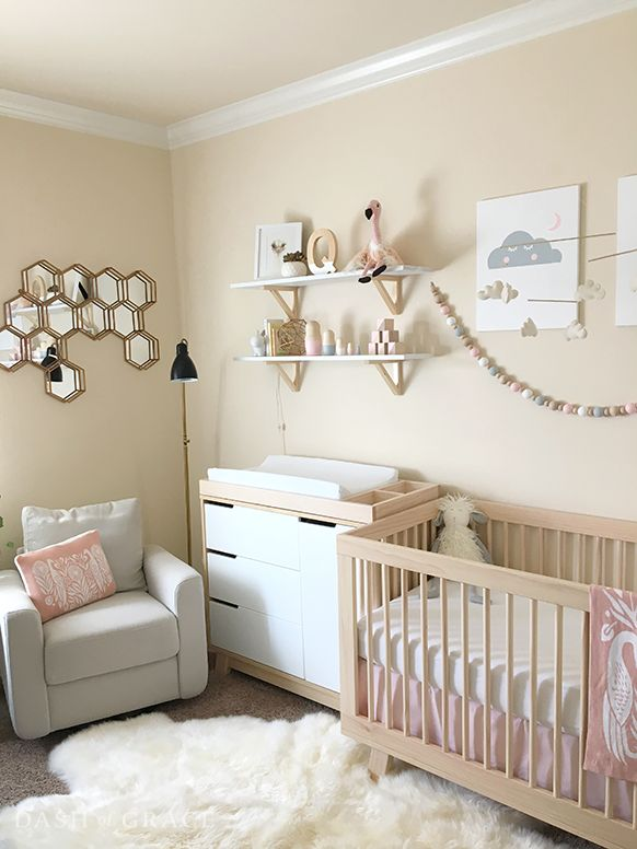 Modern Scandinavian Nursery - Natural wood furniture with blush, grey, and gold accents (See more on dashofgrace.com) @babyletto