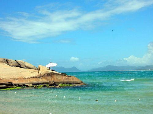 Praia da Joaquina  em Florianopolis, Brasil