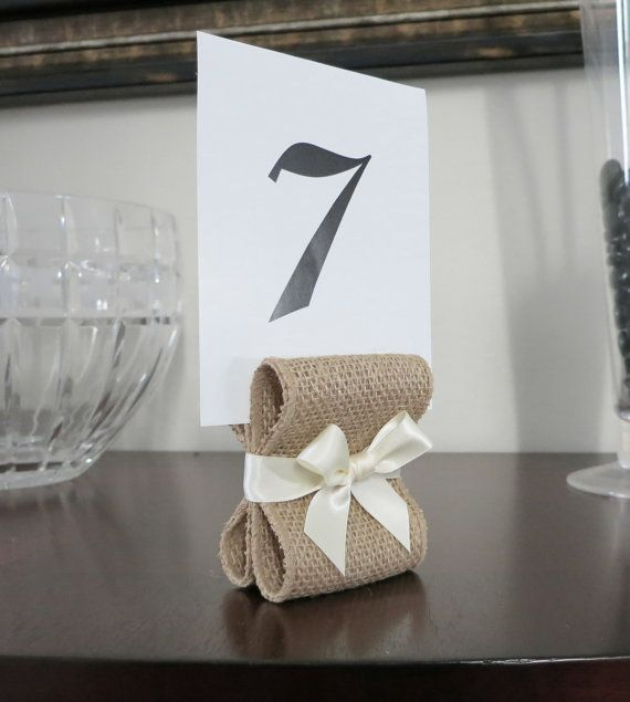10 Burlap Ivory Rustic Wedding Decor Table Number Menu Card Holders Or Stands