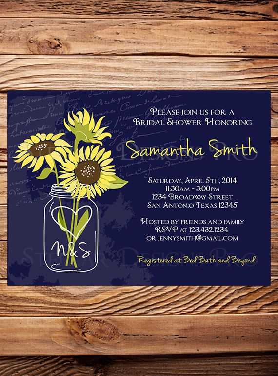 Hey, I found this really awesome Etsy listing at https://www.etsy.com/listing/179792667/bridal-shower-invitation-navy-sunflowers