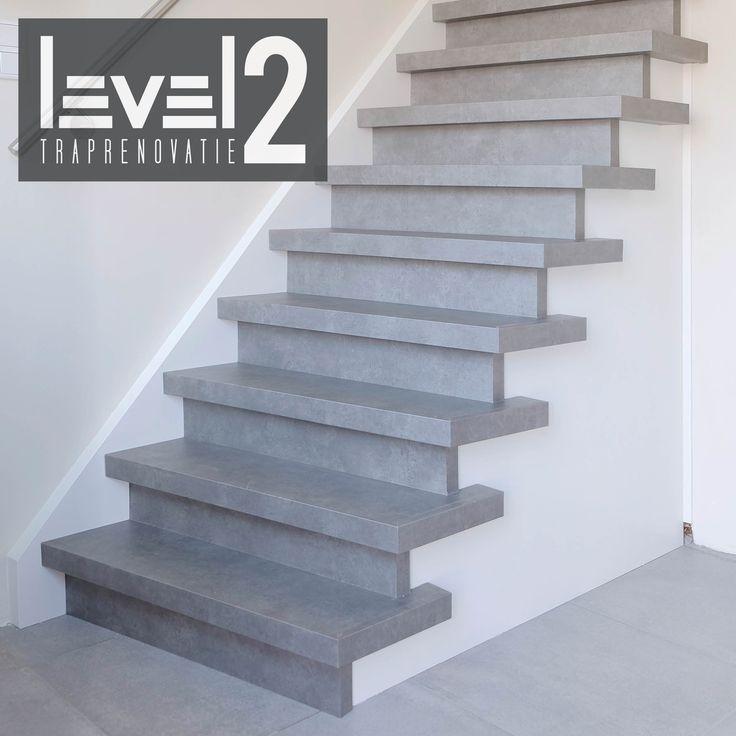 #level2 traprenovatie #PVC #betonlook #trap bekleden #trap renoveren #traprenovatie