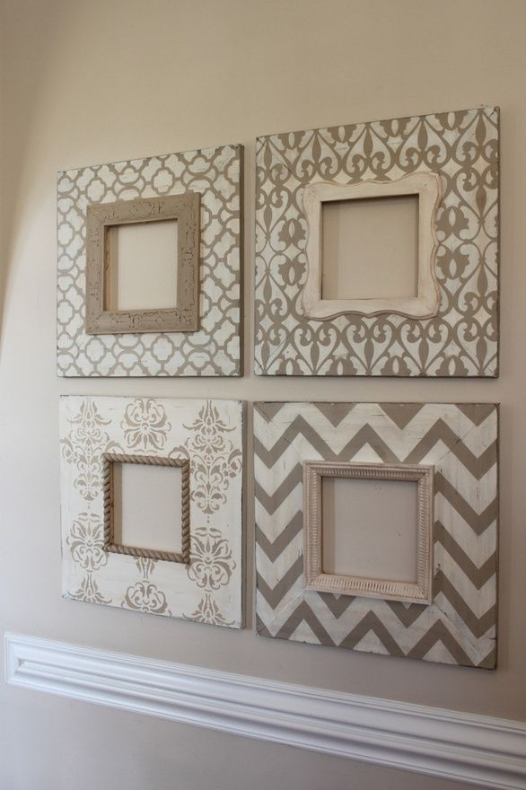 Stencil Picture Frames. Cute and super easy