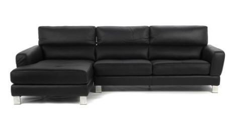 Canap d 39 angle gauche en cuir noir octa prix promo alinea for Canape angle alinea