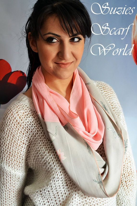Chiffon Soft Scarf Grey and Pink Scarf Double by SuziesScarfWorld, €19.00