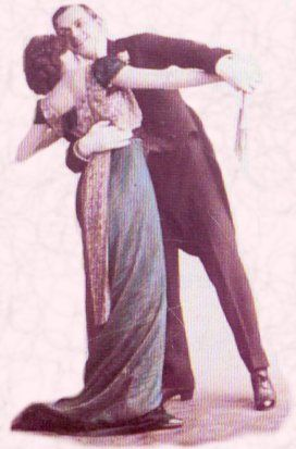 Picture of man and a woman dancing tango. Costume history and fashion history between 1914 and 1920.