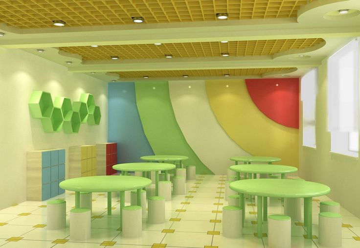 Kindergarten Dining Room Interior Design Nice Shade Of Green