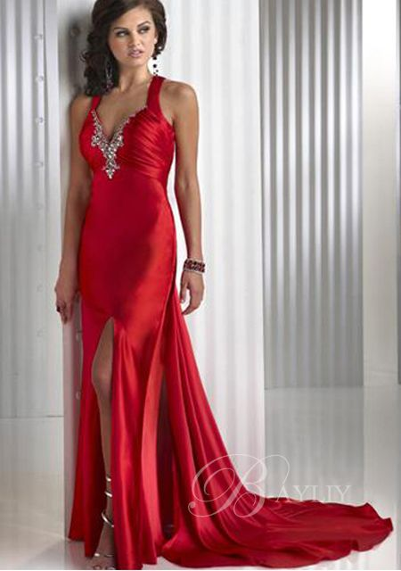 Everyone wants to be the lady in red: Dress Prom, Evening Dresses, Satin, Red Gowns, Evening Gowns, Red Prom Dresses, Promdress, V Neck, Dresses Prom