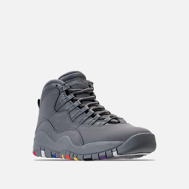 Three Quarter view of Men's Air Jordan 10 Retro Basketball Shoes in Cool Grey/White