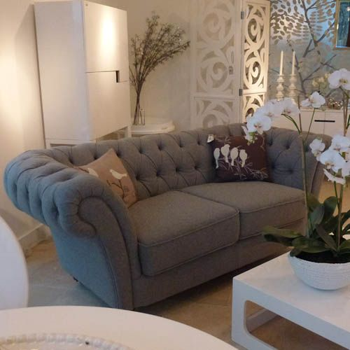 French grey chesterfield sofa
