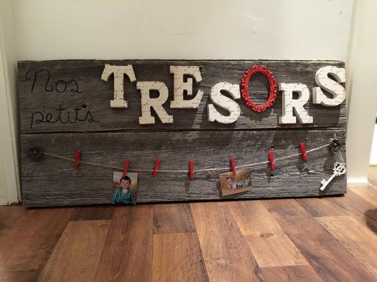 Planches de bois de grange + lettres en bois peintes