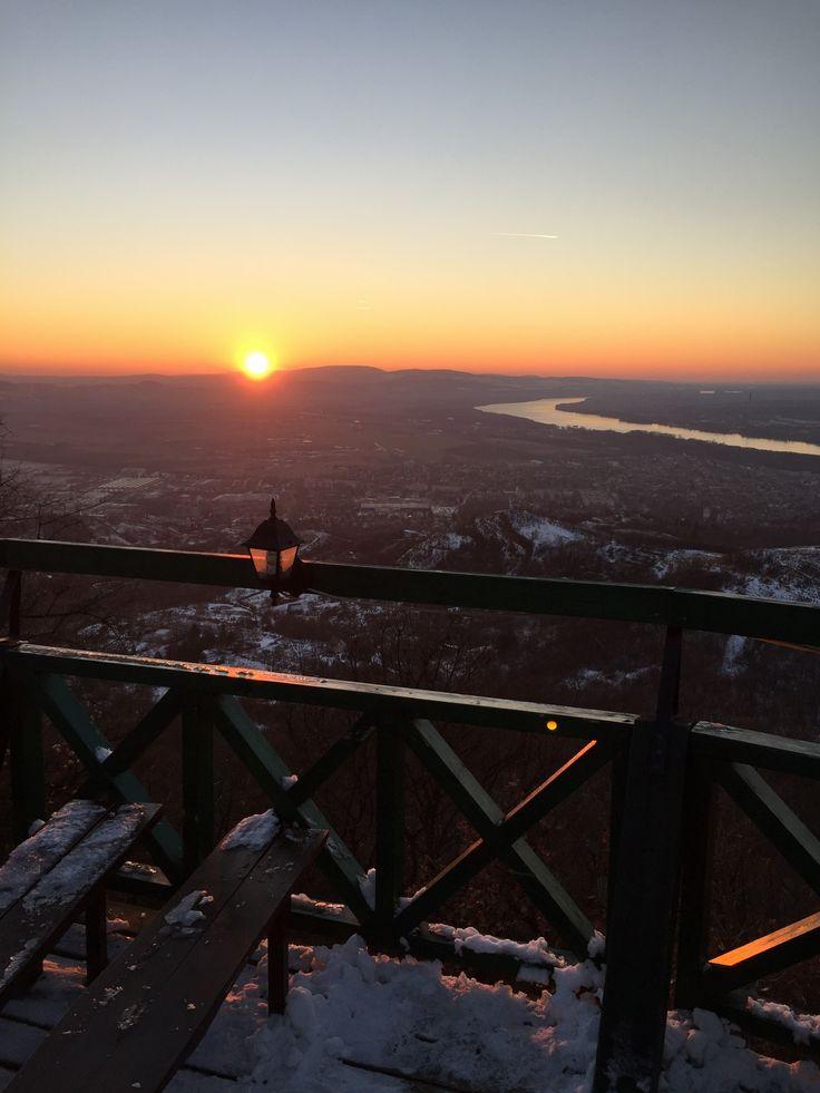 Csodálatos naplemente Esztergom fölött a Vaskapuból - Amatőr fotók