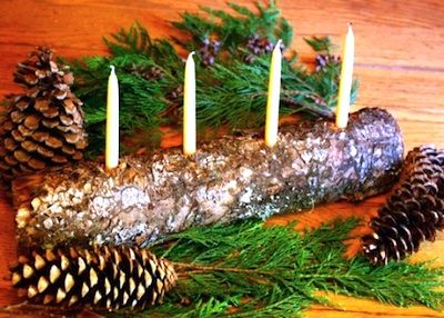 Log + Candles Centerpiece