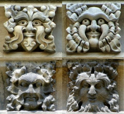 Green Men in Gloucester Cathedral, England (photos Rex Harris).