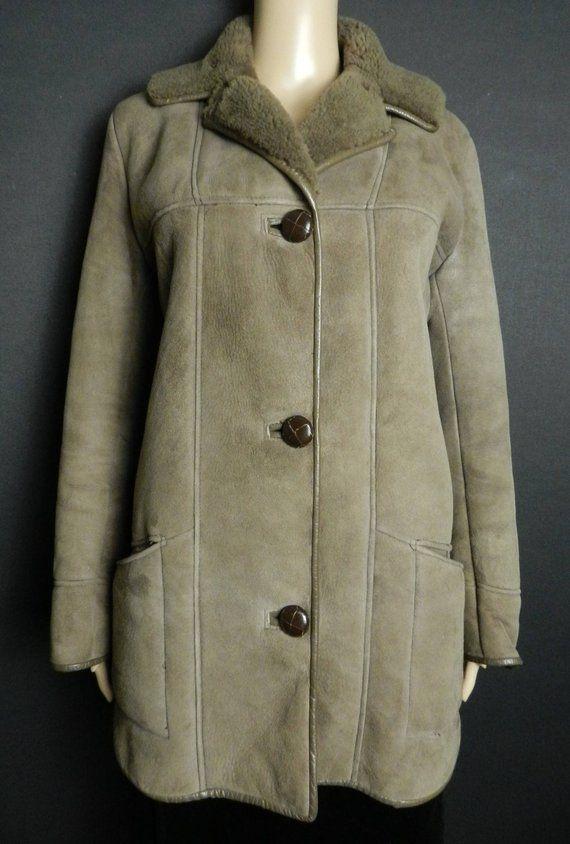 70s 80s Mocha Brown Softest Longline Suede Sheepskin Winter Coat Cocoa Brown Shearling Faux Fur Lining Fur Lined Pockets M L Winter Coats Jackets Winter Coat Coat