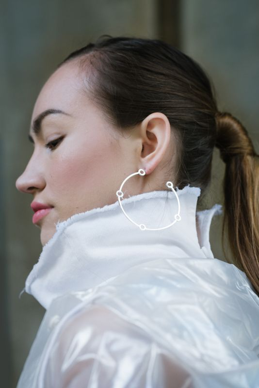 Large atomic hoops in silver // Minimal luxe handmade jewellery by Elin Horgan