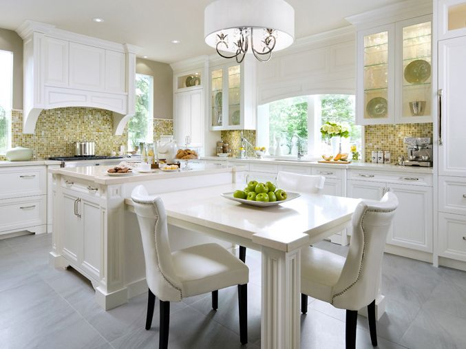 The tile back splash is lovely with all the white and green & yellow decor.