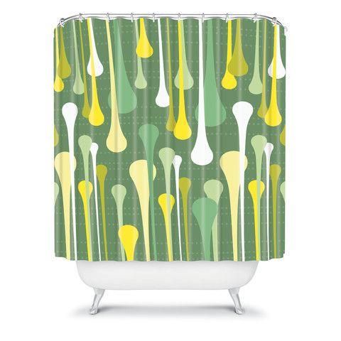 Heather dutton droplets shower curtain home avocado and for Avocado bathroom ideas