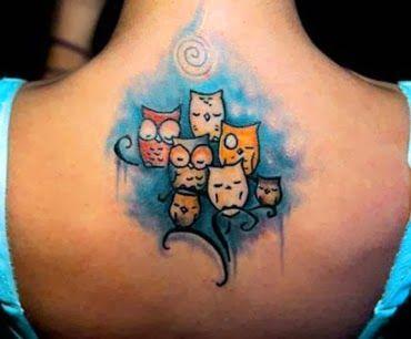 Tatuagens de corujas fofinhas