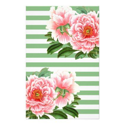 Pink Peonies Green Stripes Stationery - classy gifts custom diy personalize