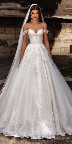 CRYSTAL DESIGN bridal 2016 off the shoulder sweetheart neckline bustier heavily embellished bodice princess a line ball gown wedding dress chapel train
