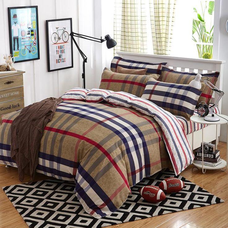 2017 Summer bedding set duvet cover queen size bed sheet morden bedding classic brown grid bedspread bed linen housse de couette