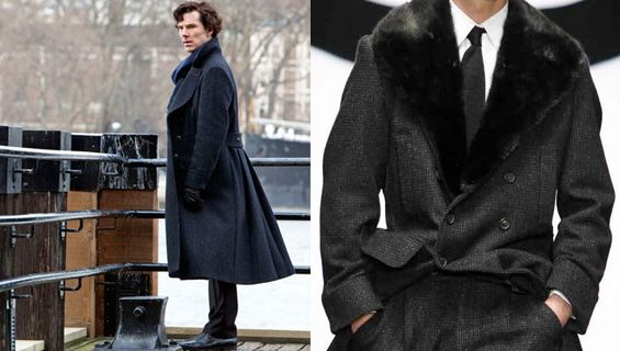 The ever-so-famous Sherlock coat by Belstaff. They don't even make the original anymore, but Belstaff redesigned it after its popularity took off due to the show.