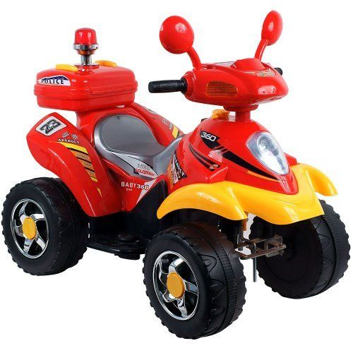 EZ Riders Battery-Powered 360 4-Wheeler, Red/Yellow by EZ Riders. $99.99. Lights and sound effects. Battery: 6V 4.5AH, Speed: 1.75mph. Forward and Reverse. Includes charger (charges fully in 12 hours). Weight capacity: 66 lbs. To moms of 3-7 year olds, EZ Riders Battery Operated 4 Wheeler Ride-On Car gives kids the new adventure and role play of riding their own ATV. This is a toy that your kid will not stop talking about. You will be the talk of the block with one of the coole...