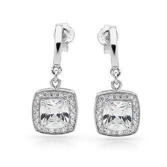 Cubic Zirconia Dress earrings - Silver - BEE-35420-CZ