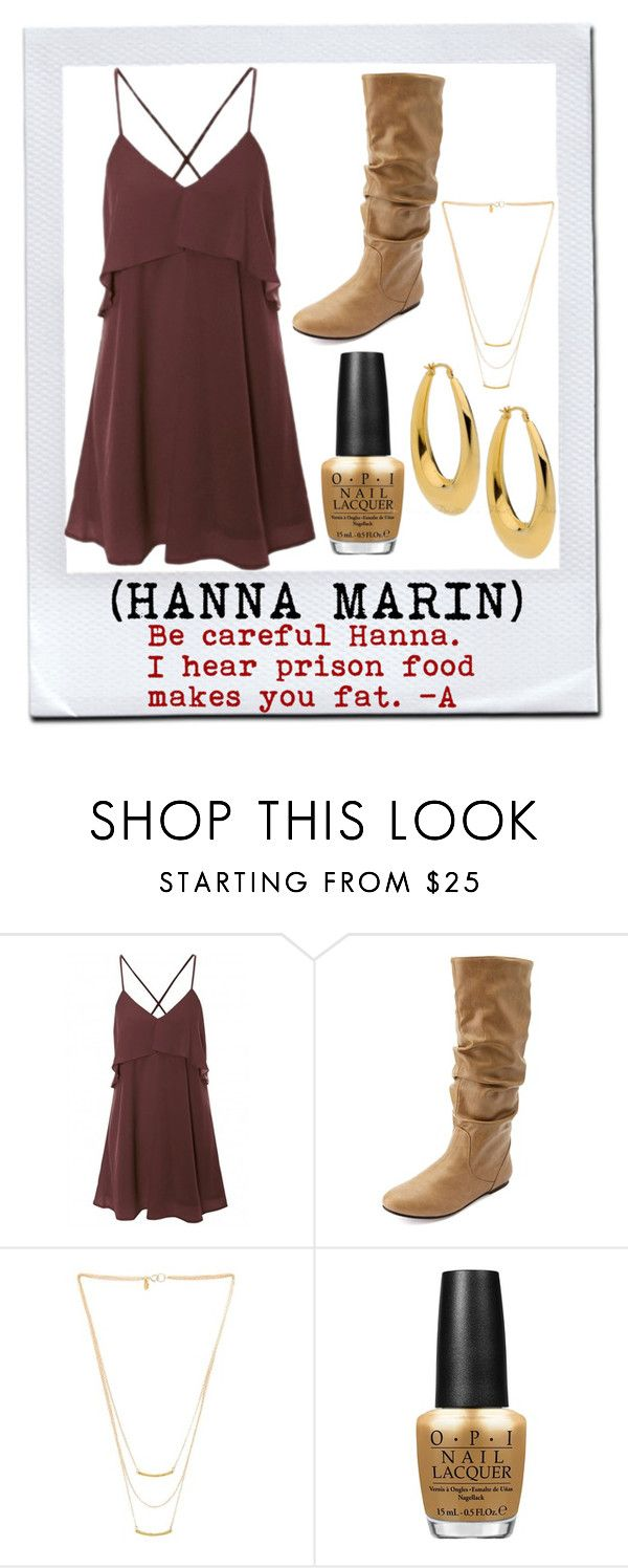 """Pretty Little Liars / Pilot 1x01 / Hanna Marin"" by shelbylynnjohnson on Polyvore featuring Charlotte Russe, Gorjana and OPI"