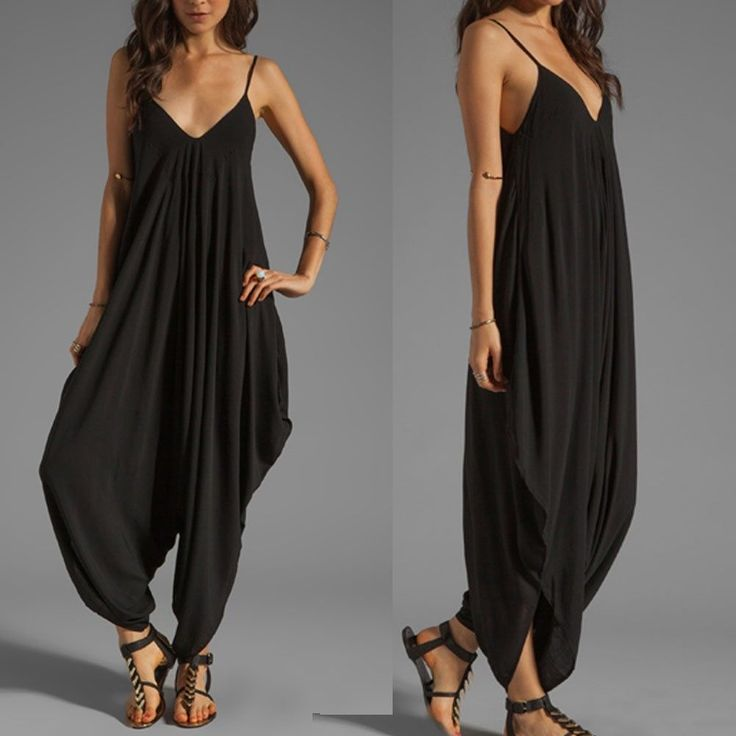 May Maya Women's Black V Neckline All in One Beach Jumpsuit Playsuits Pants | eBay