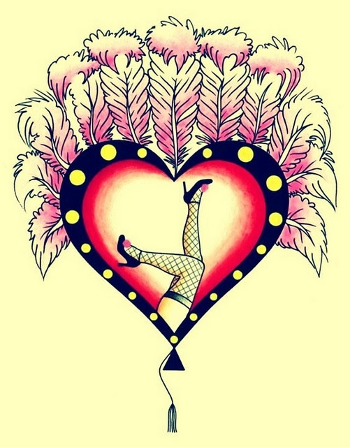 cute! burlesque heart (by Crisis Tattoo)
