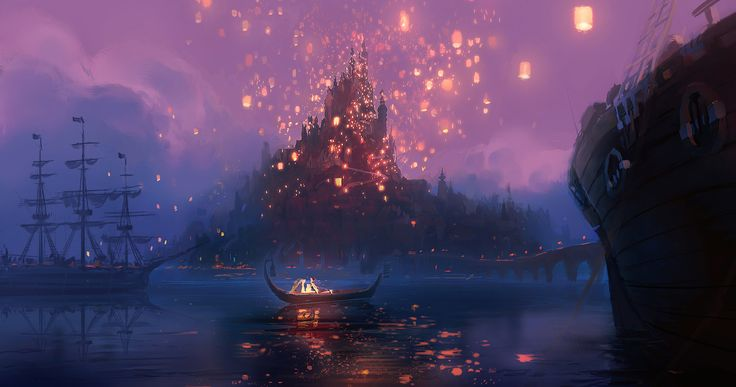 """""""I love that these lanterns represent what Rapunzel wants, but even more that it's a symbol of something inside every sixteen-, seventeen-, eighteen-year old. This bigger calling, this idea of independence, a huge personal leap of 'Me becoming Myself.'"""" - Glen Keane (Art by Jeffrey Turley)"""