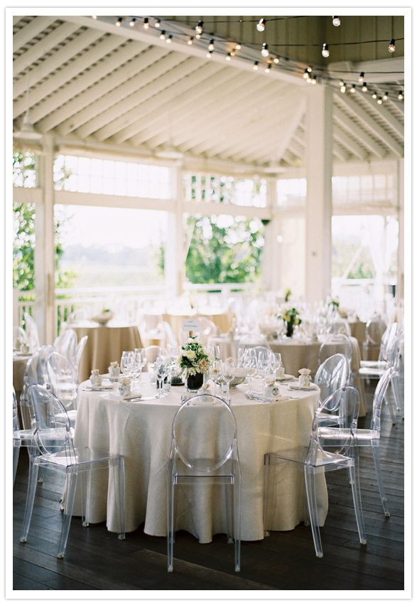 Lucite chairs with Linen tablecloths