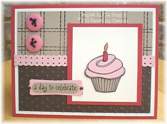 Celebration Cupcake Birthday Card by PaperKrazyCreations