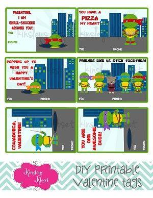 Printable Valentine Cards Teenage Mutant Ninja Turtles Valentine Tags Teenage Mutant Ninja Turtles www.kinsleyskloset.com