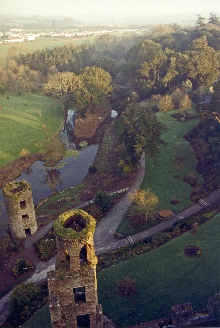View of the towers and river from Blarney Castle, near Cork.
