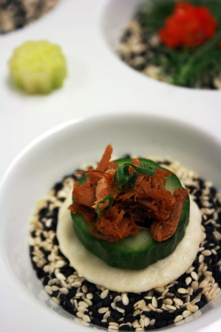 Indonesian Pulled Pork Baby English Cucumber Rice Cracker Scallions Charleston SC Wedding Caterer
