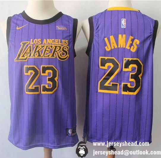 best website a87ca 474fe New Los Angeles Lakers LeBron James #23 Purple Printed ...