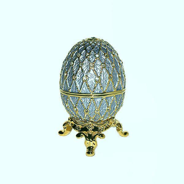 Light Blue Faberge Style Egg Box on Stand set with Swarovski Crystals Powder figurine