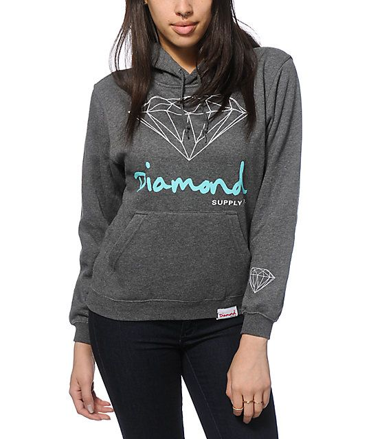 Add some shine to your daily look with this soft and thick fleece hoodie that features a white and mint Diamond graphic and script printed on…