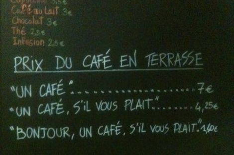 Different prices for coffee for polite guests Petite Syrah café in Nice